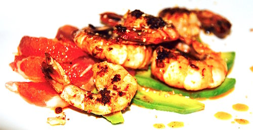 Recipe spicy « asia » prawns, avocado & grapefruit